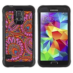 Suave TPU Caso Carcasa de Caucho Funda para Samsung Galaxy S5 SM-G900 / Indian Carpet Pattern Flowers Pink / STRONG