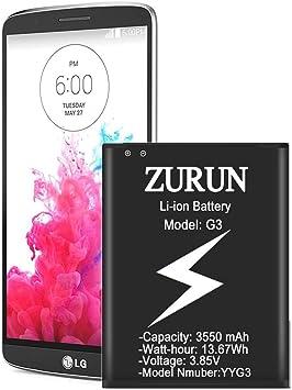 Zurun - Batería de Ion de Litio para LG G3 (3500 mAh, Repuesto ...