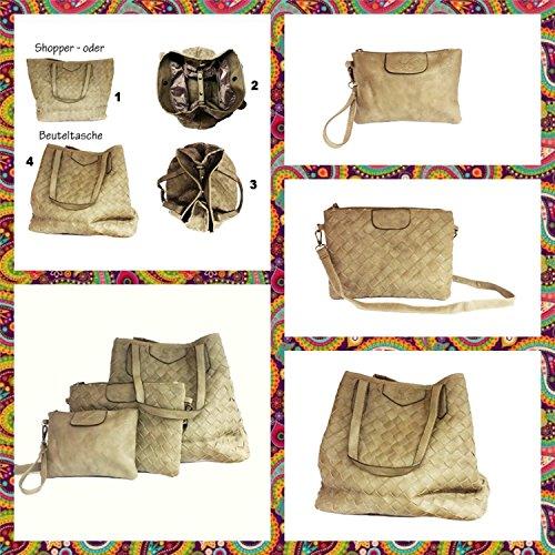 Piezas La Bolsa Para Bolso Set De Bolsas Hombro Weave Loria 3 Mano Gris Mujeres HqAHYar