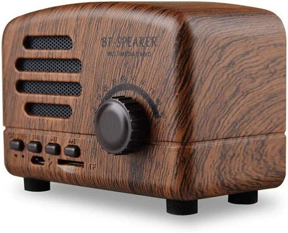 Retro Bluetooth Wireless Speaker, Portable Waterproof Stereo Radio, AM/FM Receiver with USB Cable, Support Card and MP3 Player, Fit for Home Office Use