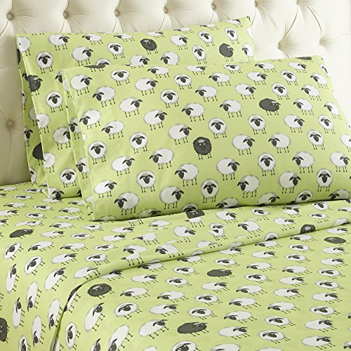 (Thermee Micro Flannel Sheet Set, Counting Sheep/Green, Queen)