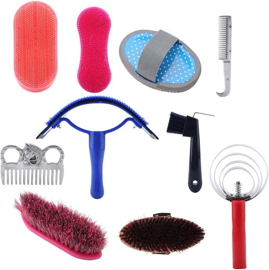 YOUTHINK Kit de Cuidado de peluquería para Caballos, 10 Piezas, Cepillo Profesional para Caballos, Herramientas de Limpieza para Caballos, Accesorios de Limpieza para masajes ecuestres