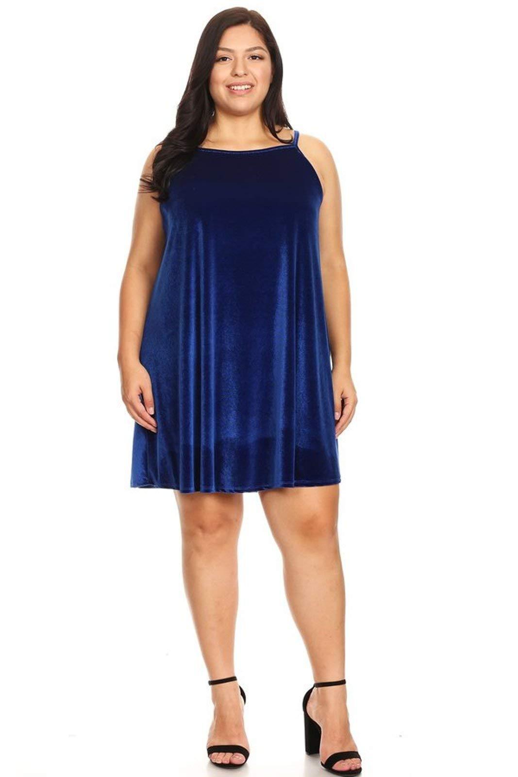 315345d0229 Vibe Sportswear Plus Size Velvet Sleeveless High Neck Trapeze Dress