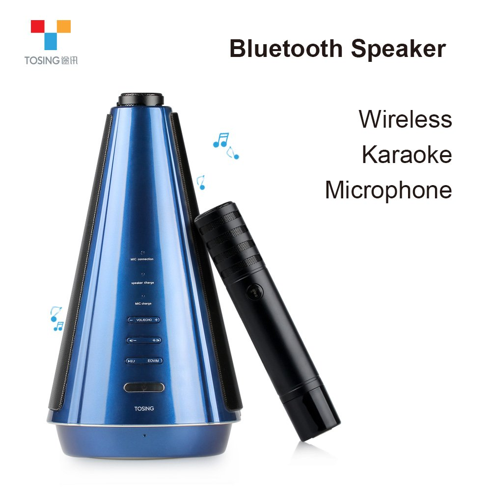 TOSING T08 Wireless Karaoke Microphone Bluetooth Speaker 2-in-1 Handheld Sing & Recording Portable KTV Player for iPhone/Android Smartphone/Tablet Compatible (Deep blue) 4334208220