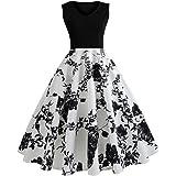 Saingace Dress for Women Girls Western, Women Vintage Sleeveless O Neck Flowers Evening Printing Party Prom Swing A-Line Dress