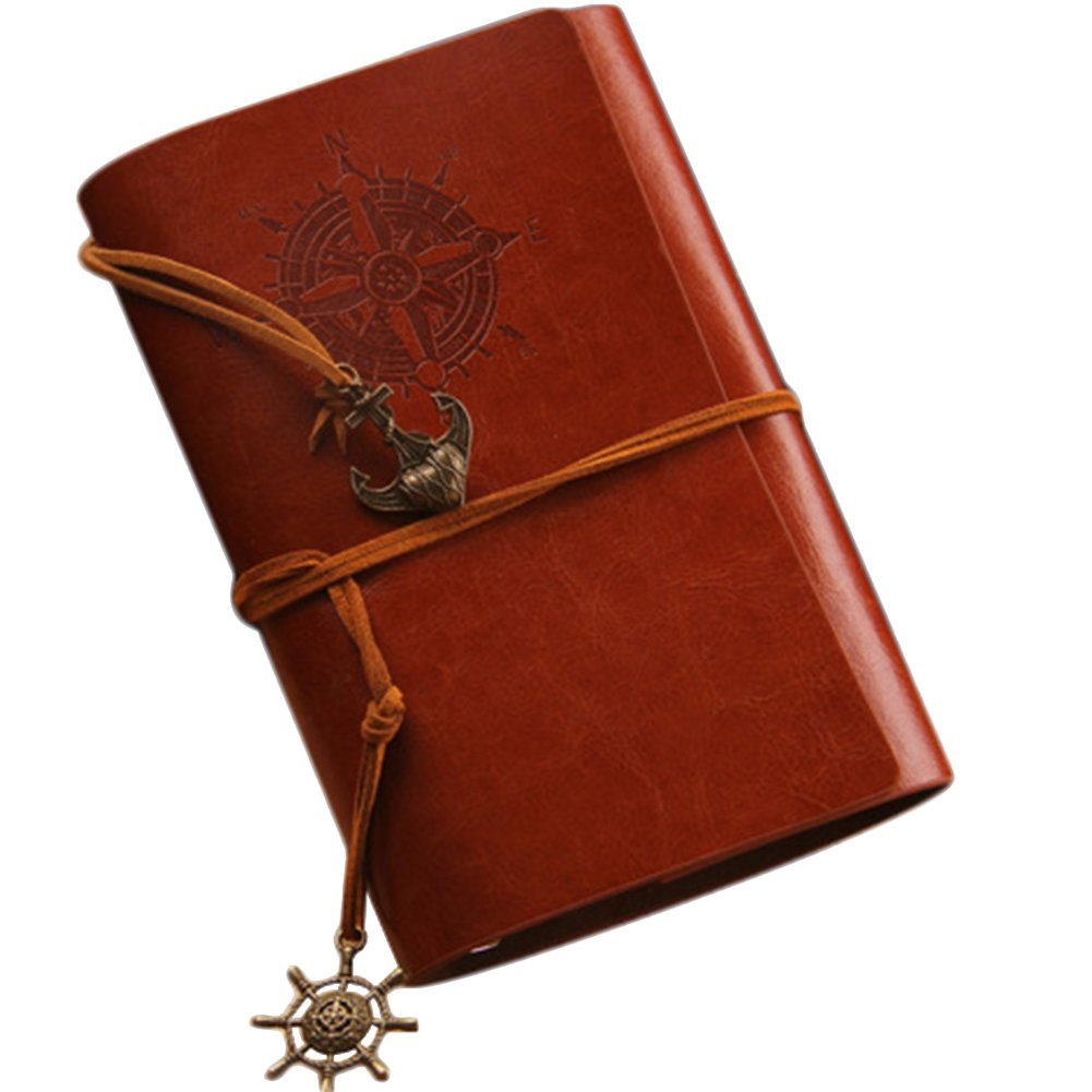 JUNGEN Carnet de notes Page Blanches de Couverture de Style Vintage Couverture en PU Cuir avec Breloques Rétro Calepin Cahier Carnet Classique Rouge 1pcs
