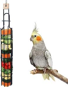 ZARYIEEO Bird Feeder, Veggies Fruit Food Holder for Birdcage, Vegetable Grain Wheat Hanging Metal Chain Bird Treat Feeder for Medium Large Parrot, Foraging Food Basket Pet Chew Toy Feeding Tool
