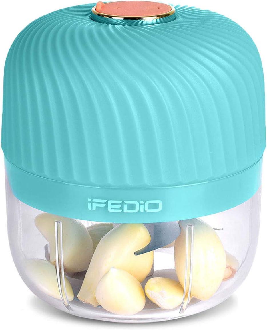 iFedio Garlic Chopper, Wireless Mini Grinder Portable Electric Kitchen Masher, Spice Chili Ginger Onion Vegetable Fruit Mincer Blender for Food 250 ML (Tiffany Blue) (250ml)