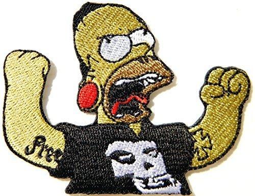 (Simpson Misfits Skull Rock Comics Cartoon Logo Punk Rock Heavy Metal Music Band Jacket shirt hat blanket backpack T shirt Patch Embroidered Appliques Symbol Badge Cloth Sign Costume Gift)