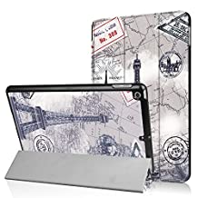 New iPad 9.7 2017 Case,Ratesell Fashion Slim Leather Stand Folio Case with Auto Wake & Sleep Function for Apple 9.7 inch New iPad 2017 [A1822,A1823],iPad Air 2013 [A1474,A1475,A1476] Eiffel Tower