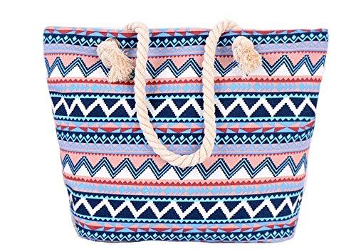 5 All Strandtasche Shopper Damen Aufdruck Muster Geometrie Groß XL mit Reißverschluss Blau