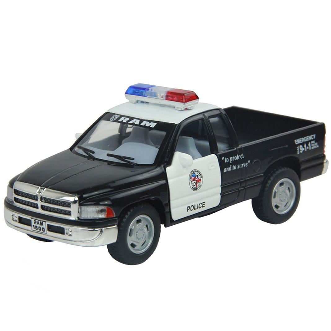 "5"" Dodge Ram Police Pickup Truck 1:44 Scale (Black/White) by Kinsmart"