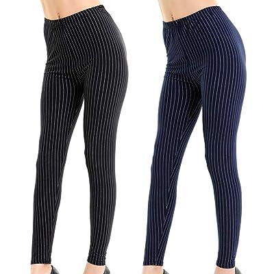 2 Pack Women Girl Pinstripe Striped Leggings Elastic Stripe Elegant at Women's Clothing store