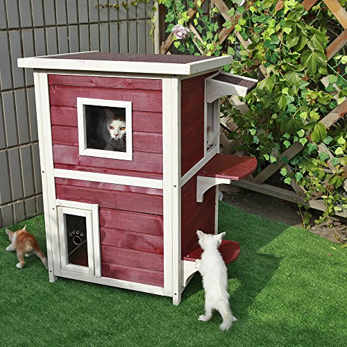 Outdoor Shelters For Pets : Petsfit story weatherproof outdoor kitty cat house condo