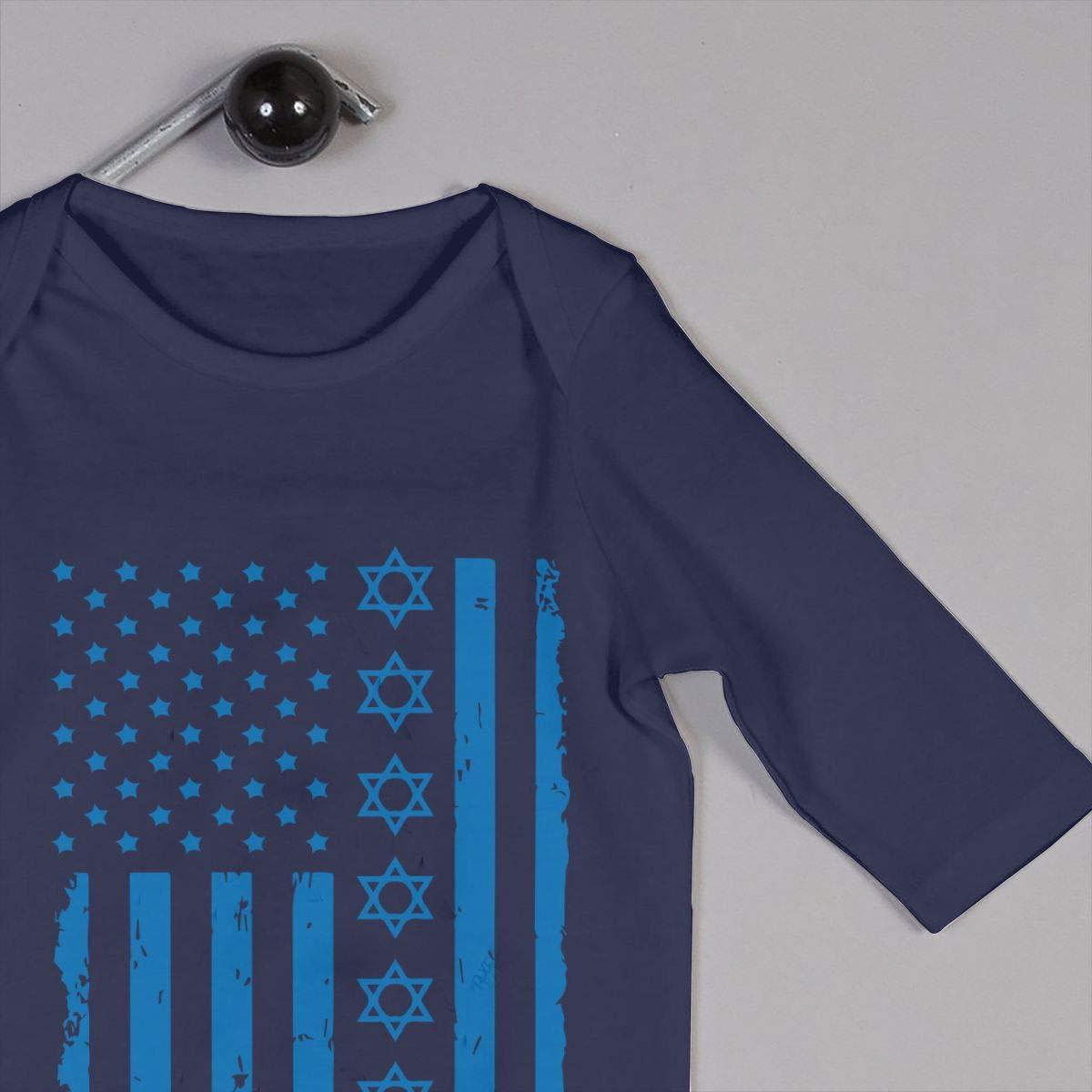 YUE--3BODY Jewish U.S.A and Israel Flag Baby Girls Long Sleeve Baby Newborn Boy Superman Bodysuits