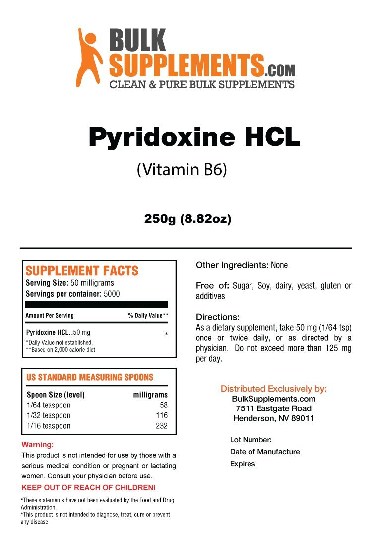 BulkSupplements Vitamin B6 (Pyridoxine HCL) Powder (250 Grams)