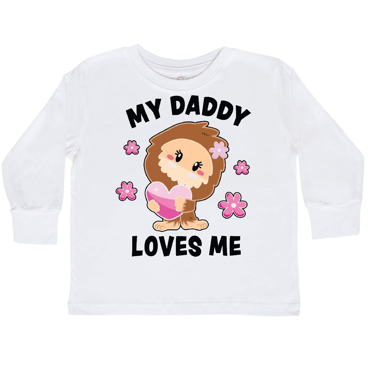 inktastic My Daddy Loves Me with Bigfoot Toddler Long Sleeve T-Shirt
