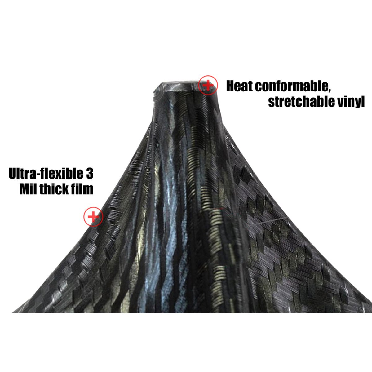 Qisan Black3D-Pellicola in fibra di carbonio Pellicola vinile flessibile avvolgente