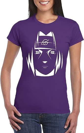 Purple Female Gildan Short Sleeve T-Shirt - Itachi Face design