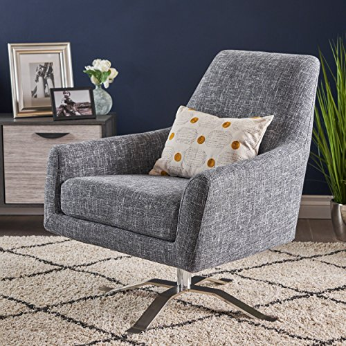 Christopher Knight Home 303887 Alice Modern Twill Grey Fabric Swivel Club Chair, Chrome
