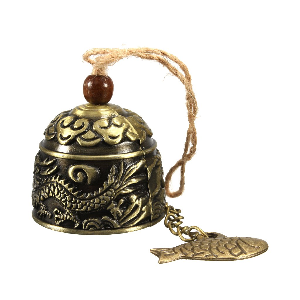 HiMo Vintage Dragon Fengshui Bell Toy Good Luck Bless Home Garden Hanging Windchime Generic STK0157001625