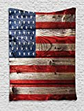 Ambesonne Rustic Decor American USA Flag Tapestry Wall Hanging, Fourth of July Independence Day Weathered Retro Wood Wall Looking Country Emblem, Bedroom Living Room Dorm Decor, 60 W x 80 L inches Review
