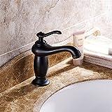 FHLYCF Basin faucet, retro copper, black hot and cold faucet, single hole, under Basin Bath, bath faucet