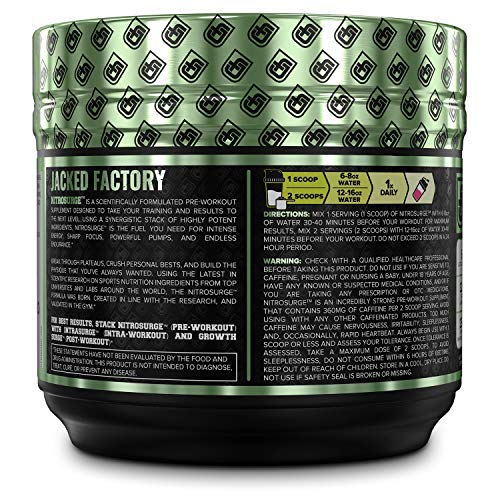 NITROSURGE Pre Workout Supplement - Endless Energy, Instant Strength Gains, Clear Focus, Intense Pumps - Nitric Oxide Booster & Powerful Preworkout Energy Powder - 30 Servings, Blue Raspberry by Jacked Factory (Image #3)