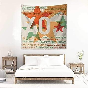 Amazon.com: 40th Birthday Square Tapestry Hippie Happy ...