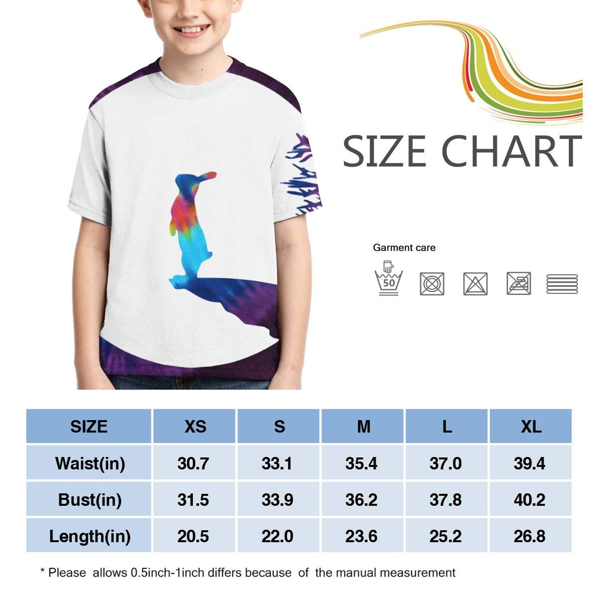 AMODECO Moony Bunny Rabbit 3D Printed Tee T-Shirt for Youth Teenager Boys Girls