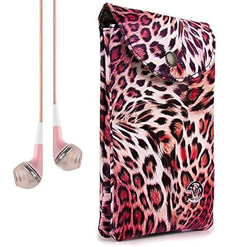 VanGoddy Women's Pink Leopard Carrying Bag Case for LG Flex 2 / LG G3 / LG G Vista / LG G3 Vigor + VanGoddy (Lg G3 Vigor Leopard Phone Case)