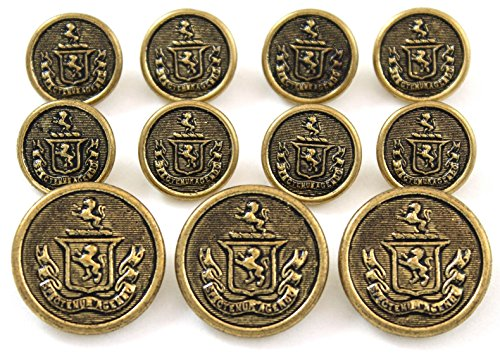 Premium WATERBURY Antiqued GOLD Toned METAL ~TWO LIONS COAT OF ARMS~ SHANK Style Sport Coat BLAZER BUTTON SET