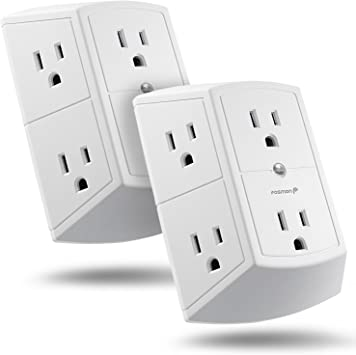 Multi Plug Outlet 4 PACK Wall Mount power strip with 6 Outlet Tap UL Listed