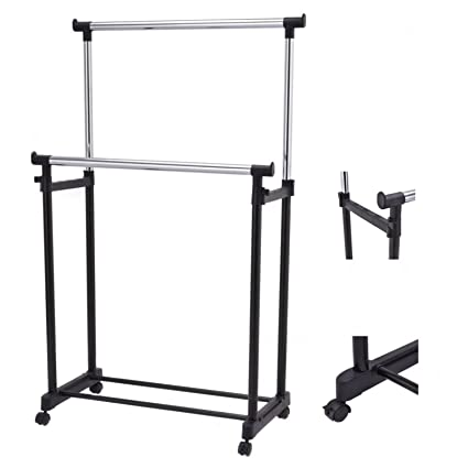 Attirant Portable Double Rail Adjustable Garment Rack Rolling Clothes Hanger Heavy  Duty New #560