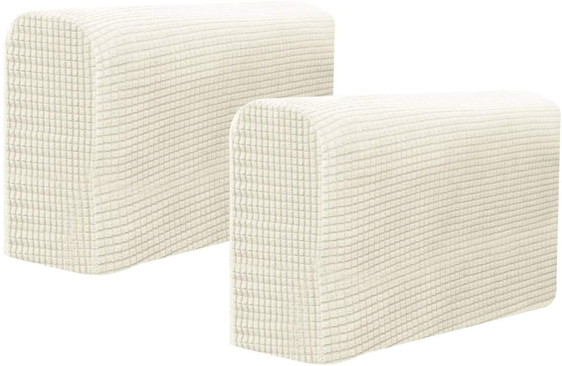 BESPORTBLE Chair Arm Protectors Sofa Armrest Cover Stretch Armchair Slipcover Protector Elastic Home Office Recliner Couch Loveseat Protective Cloth 2pcs (Rice White)