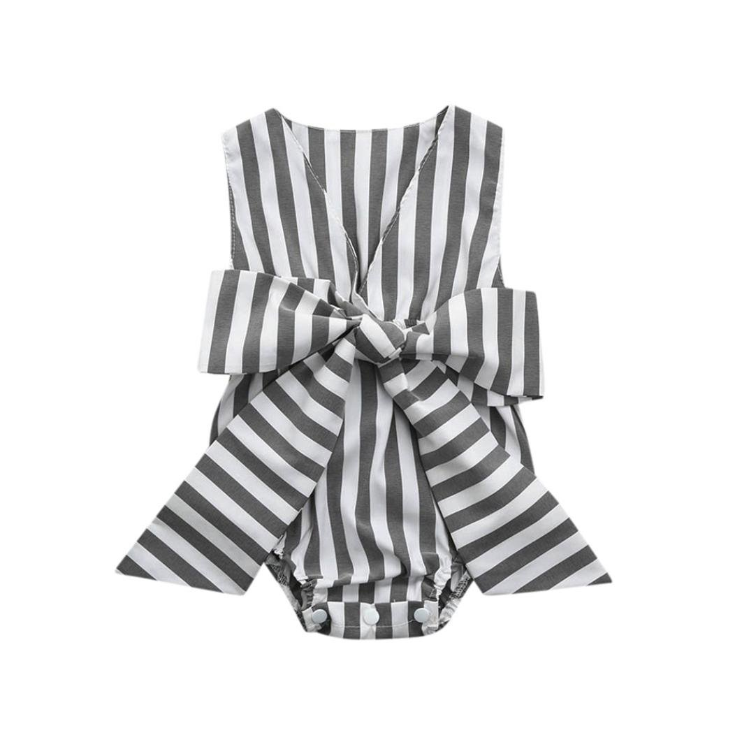 Kobay Baby Jumpsuit Summer Baby Princess Dress Baby Girls Infant Striped Bow Sleeveless Clothes Jumpsuit Romper