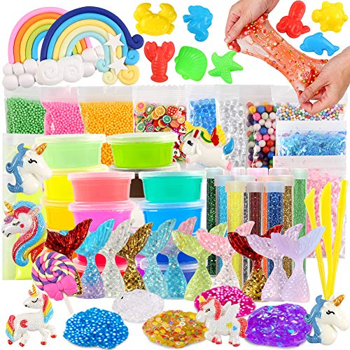 3 otters 73PCS Slime Kits, Slime Making Kit Unicorn Slime Kit for Girls Boys.