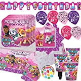 Girl Paw Patrol Party Supplies and Decorations Pack for 16 With Plates, Napkins, Tablecover, Cups, 6 Balloons, Birthday Banner, and Exclusive Paw Birthday Pin By Another Dream