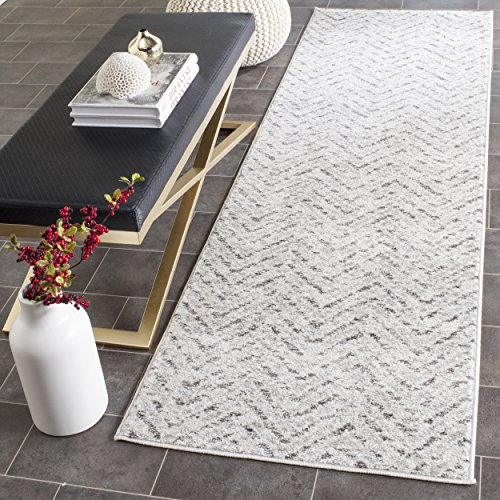 Safavieh Adirondack Collection ADR104N Ivory and Charcoal Modern Distressed Chevron Runner (2'6