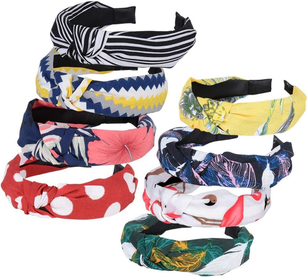 8pcs Diademas de Pelo Anchas Diadema de Nudo Bandas de Pelo para la Cabeza Turbantes para Mujer Diadema Para Mujer Chica Ni/ña Accesorio de Pelo 8 Colores Variados