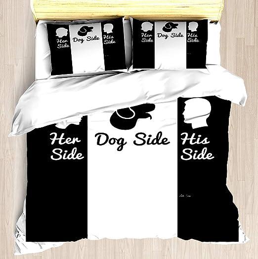 Amazon.com: NTCBED Her Side,Dog Side,His Side   Duvet Cover Set