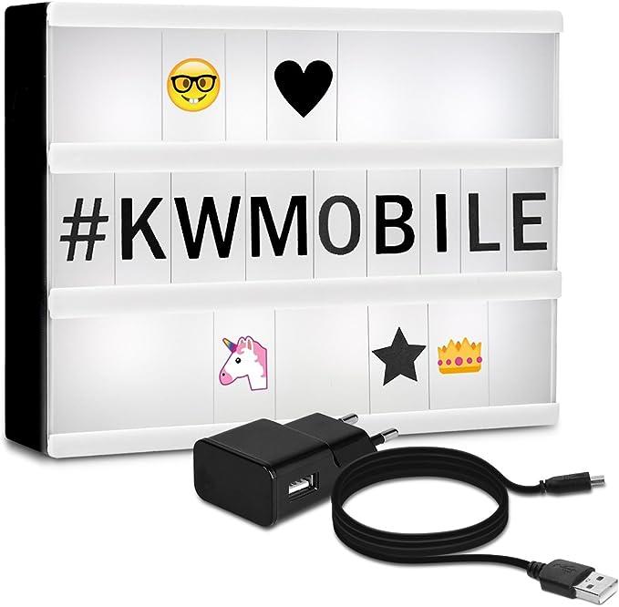 kwmobile caja de luz cinematográfica LED A4 - lightbox con 378 letras negras números + emoticones - fuente de alimentación - caja de iluminación: Amazon.es: Iluminación