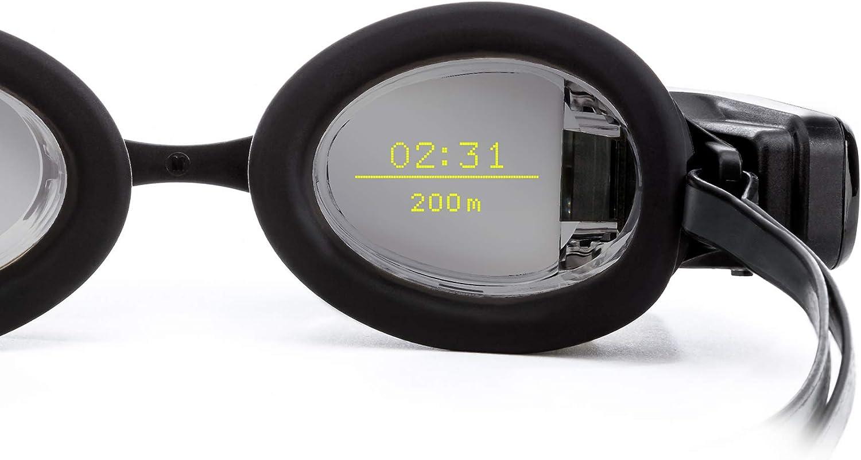 FORM Smart Swim Goggles - Gafas de natación inteligentes con pantalla transparente, diseño premium con recubrimiento antiempañante - Lentes de espejo de plata