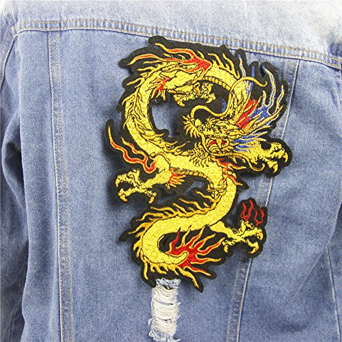 Chinese Dragon Embroidered Patch , Dragon Applique for Garment. 18 x 24cm (Embroidered Dragon Patches)