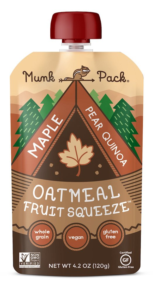 Munk Pack Oatmeal Fruit Squeeze | Maple Pear Quinoa, Ready-to-Eat Oatmeal On The Go, 4.2 oz, 6 Count