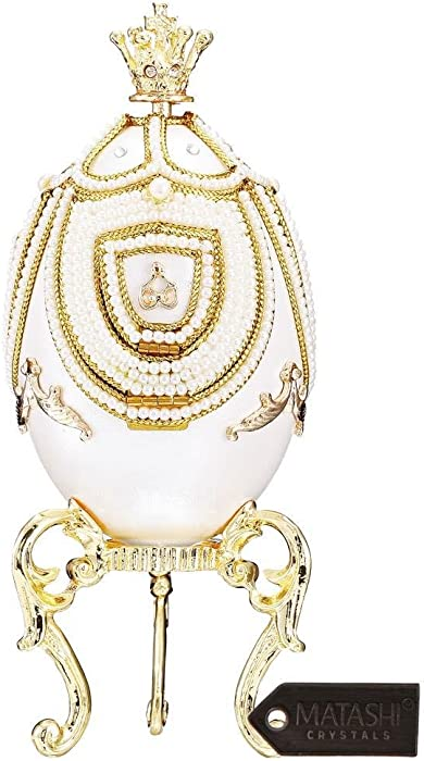 Matashi Faberge Egg Music Box Swan Lake with Hidden Carousel Inside Elegant Crystals Tabletop Ornament Home Living Room Bedroom Decor Gift for Christmas Mother's Day New Year Birthday Valentine's Day