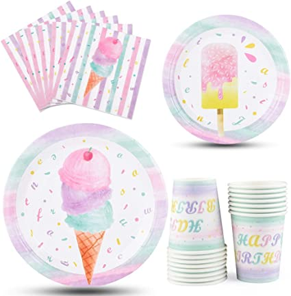 Ice Cream Birthday Ice Cream Cone Party Dinner Plates Set of 8 plates