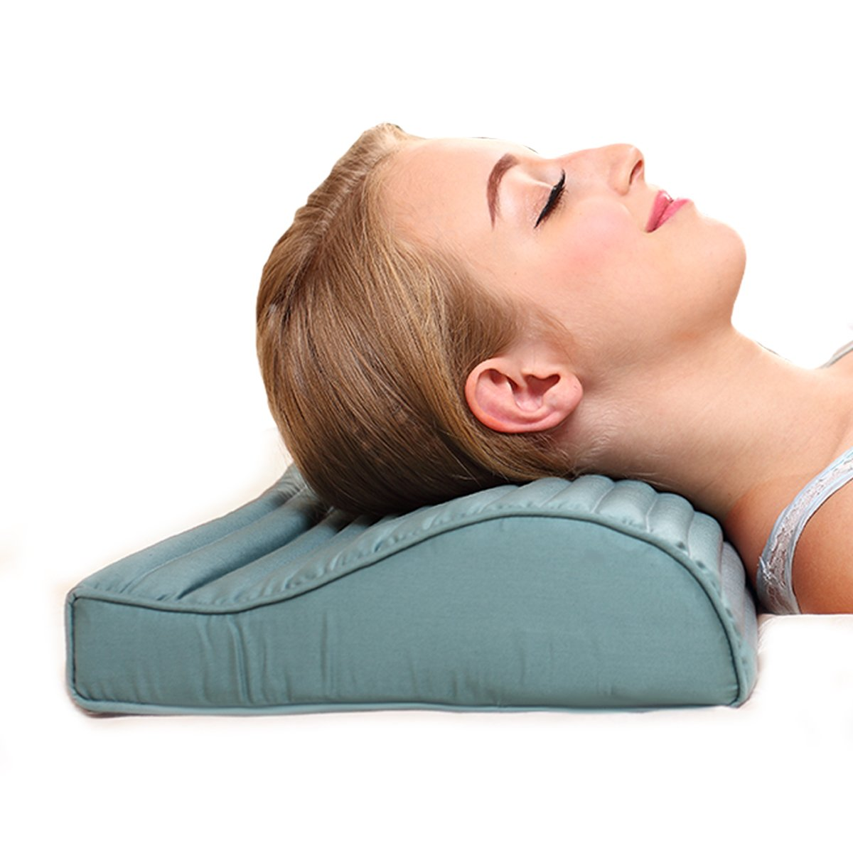 Chiropractic Cooling Neck Pillow- GreenMoon Orthopedic Cervical Pillow for Neck Pain,Pinched Nerve Neck,Stiff Neck,Firm Contour Pillow including Jade Layer,1 Herbal Pack,2 Egyptian Cotton Pillow Cases