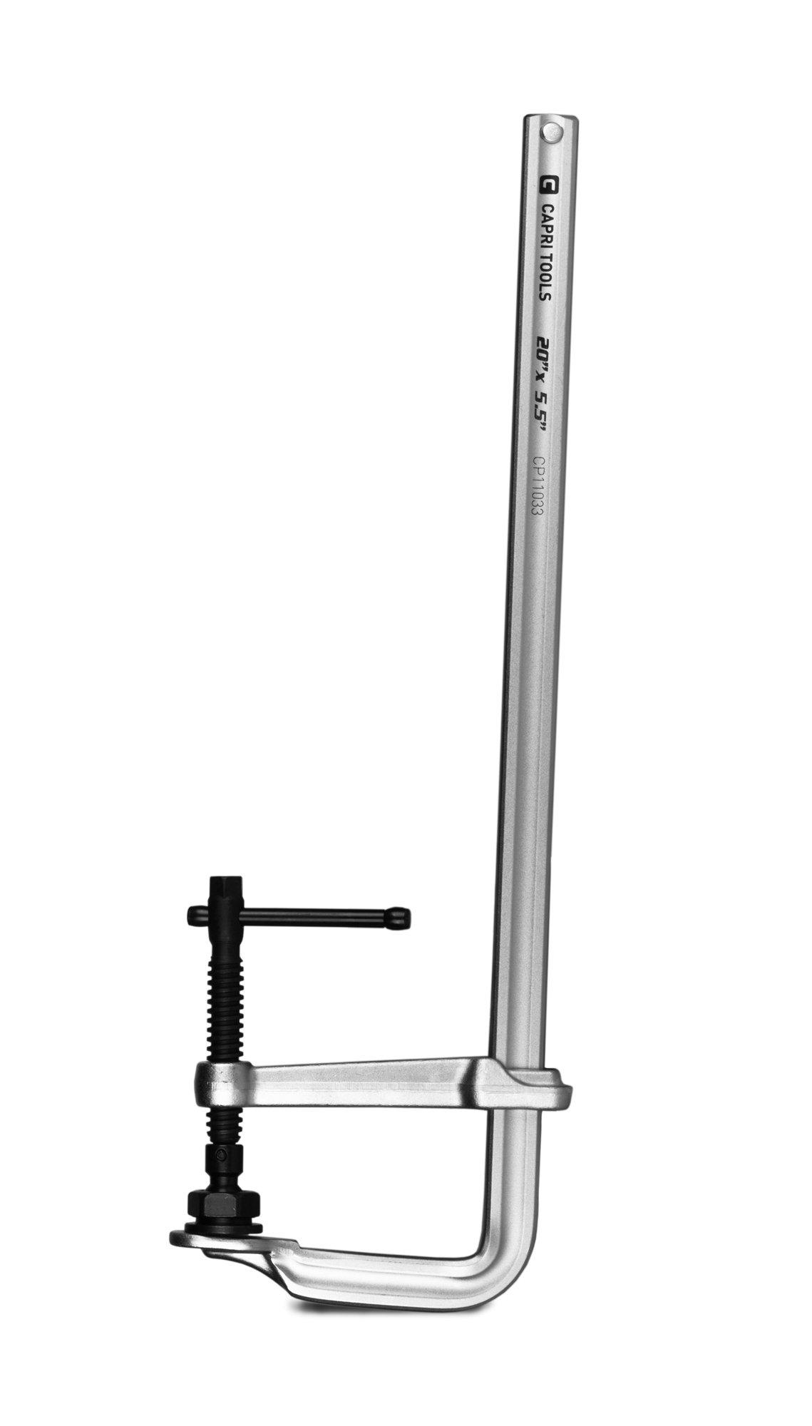 Capri Tools 20-Inch Heavy Duty All Steel Bar Clamp, 5-1/2-Inch Throat Depth, 2,645 lb Clamping Force by Capri Tools