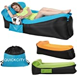 Quickcity Inflatable Lounger NEWEST 3.0 Air Couch Cooler Sofa Air Mattress Camping Chair Portable Airbed with Carry Bag for Backyard Lakeside Beach Traveling Picnics & Music Festivals